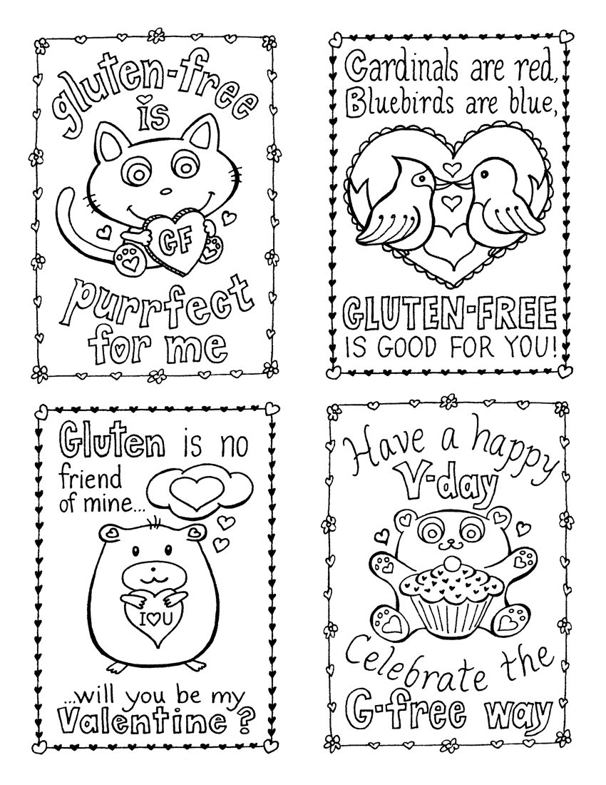 valentine bookmarks to color : Gluten Free Valentine S Day Cards Plus 3 Treat Ideas
